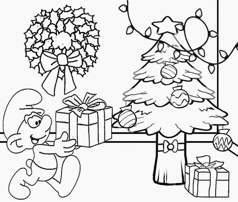 Free Comic Strip Smurf Christmas Presents And Xmas Tree Clipart Coloring Pages For Teenagers Drawing