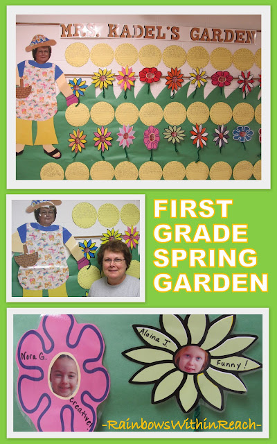 photo of: Spring Garden First Grade Bulletin Board, End of Year Writing within Bulletin Board