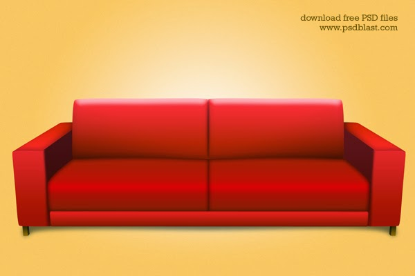 Red sofa PSD Icon