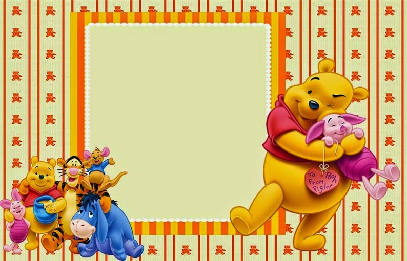 Para hacer invitaciones, tarjetas, marcos de fotos o etiquetas, de Winnie the Pooh  para imprimir gratis.