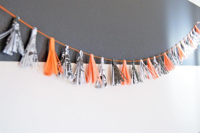 DIY Paper Tassel Halloween Garland