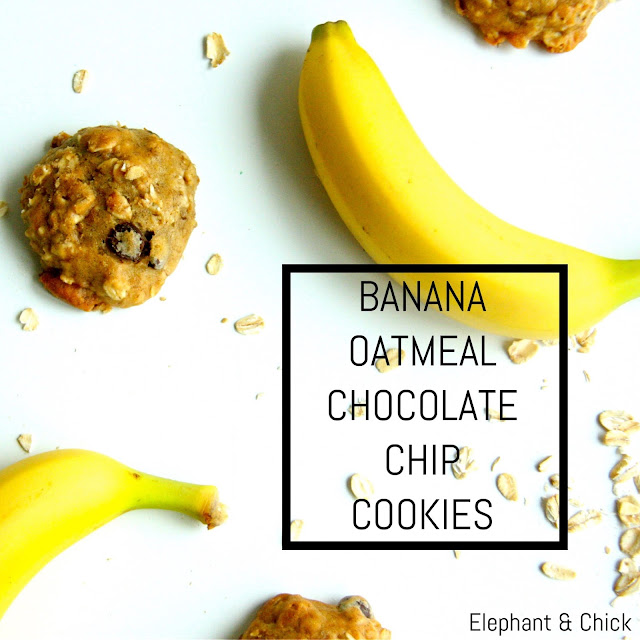Oatmeal Banana Chocolate Chip Cookies | elephantandchick