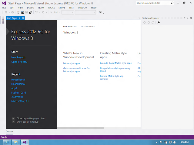 Visual Studio 2012 - Start Page