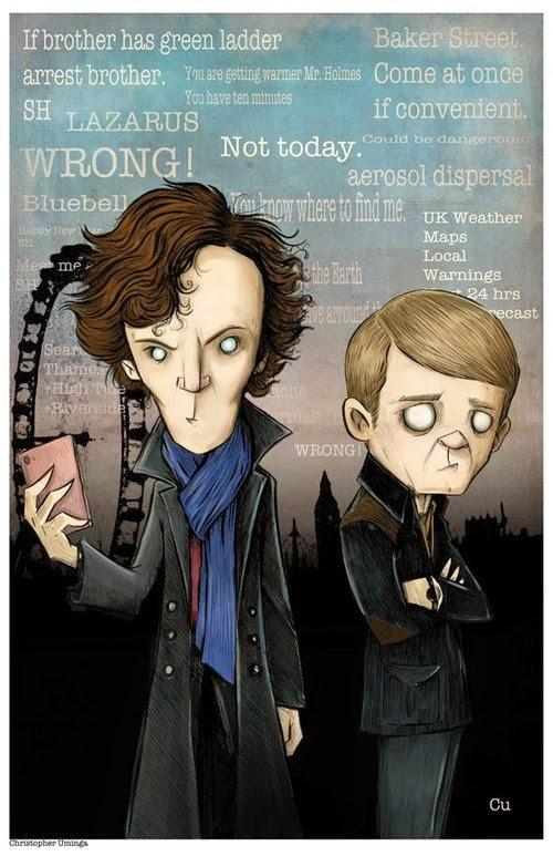 15-Sherlock-Holmes-&-Watson-Chris-Uminga-Game-of-Thrones-Watercolours-www-designstack-co