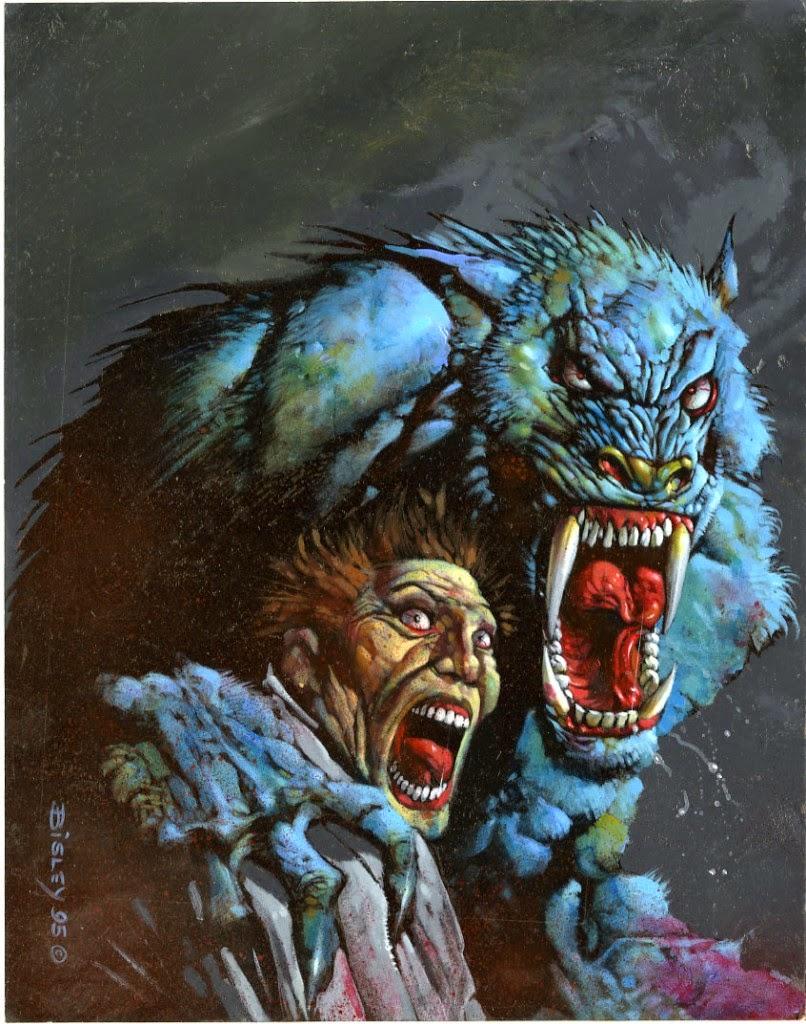 Dessin de Simon Bisley représentant une homme avec un loup garou les deux hurlant