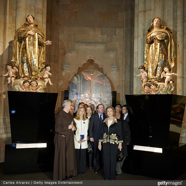 Queen Sofia visited the Basilica of Santa Teresa on March 23, 2015 in Alba de Tormes, Salamanca, Spain.