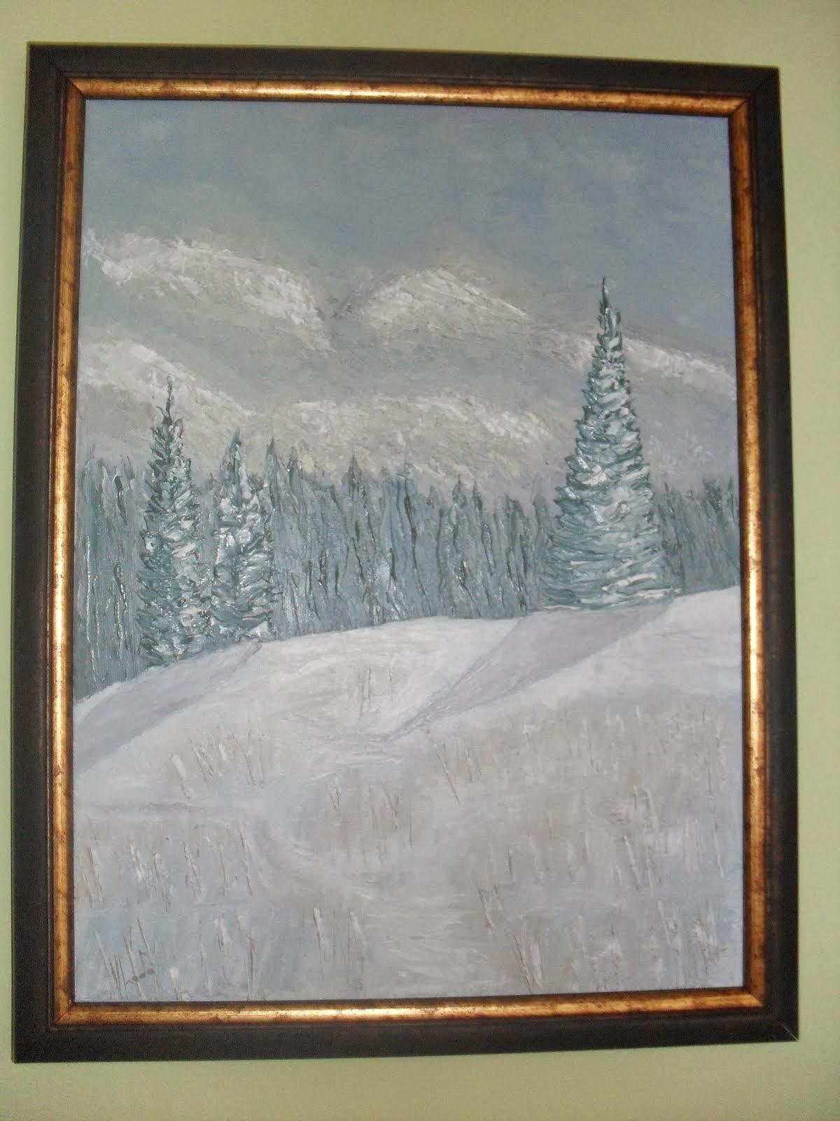 ulje na platnu,umetnička slika-ZIMA KOPAONIK-Vladisav Bogicevic slikar Luna-Nis