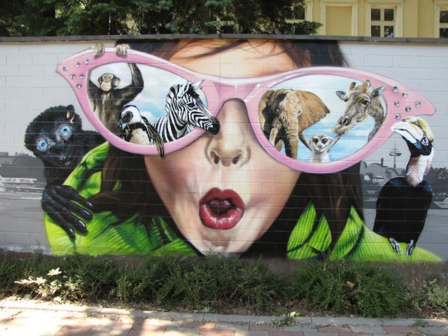 art, street art, on wall, of zoo, zoo