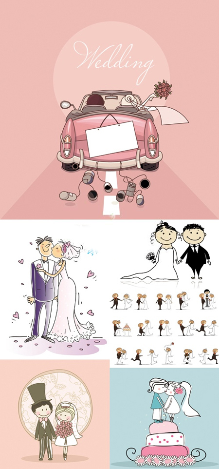 Comic Style Wedding Vector Labels wedding vectors