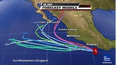 Hurrikan HILARY jetzt Kategorie 2 - in Nordwest-Mexiko bitte noch nicht ignorieren, Hilary, Mexiko, Baja California, Verlauf, Vorhersage Forecast Prognose, Jalisco, Oaxaca, Chiapas, Colima, aktuell, 2011, September, Hurrikansaison 2011, Cabo San Lucas, Los Cabos,