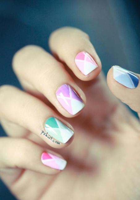 Bright Color Nail Design http://www.becomestyles.com/2013/01/creative-nails-designs.html