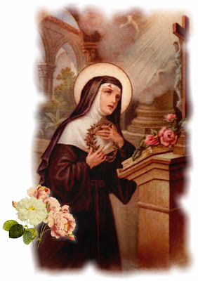 Santa Rita con una corona de espinas en las manos arrodillada ante Cristo crucificado