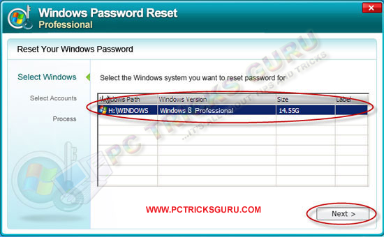 reset windows 8 password