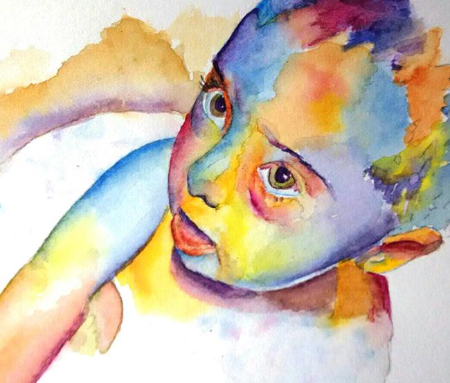 Pintura de niño en acuarela con colores muy vivos