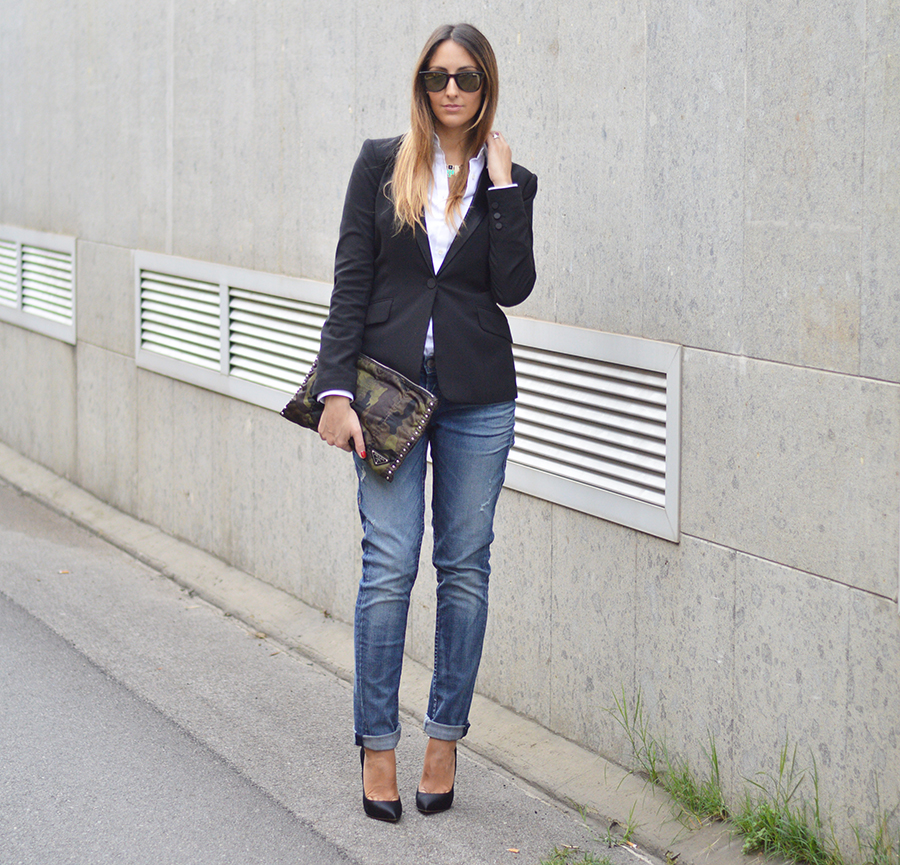 classic look, outfit semplici e classici, classic outfit, classic outfit fashion blogger, boyfriend jeans, true religion boyfriend jeans, baggy jeans, prada bag, prada camouflage bag, prada camo bag, camouflage bag, camo bag, casadei shoes, casadei pumps, casadei blade pumps, casadei pumps, scarpe casadei pumps, occhiali carrera, carrera sunglasses, fashion blog, elisa taviti, elisa taviti fashion blogger, my fantabulous world, h&m jacket, H&M blazer