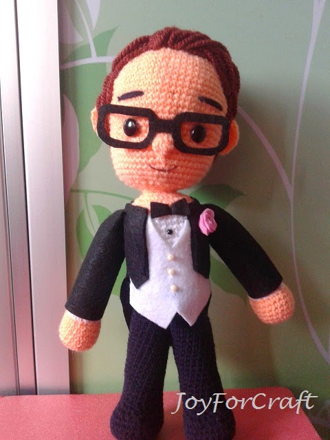 Crochet amigurumi wedding groom doll cute lovely gift