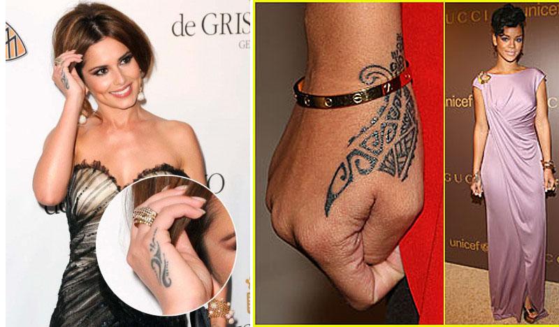 Cheryl Cole and Rihanna both sport Maori inspired hand tattoos