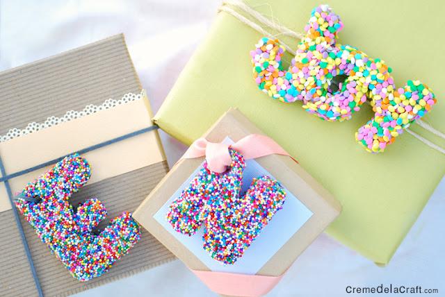 diy letter gift toppers from sprinkles. Black Bedroom Furniture Sets. Home Design Ideas