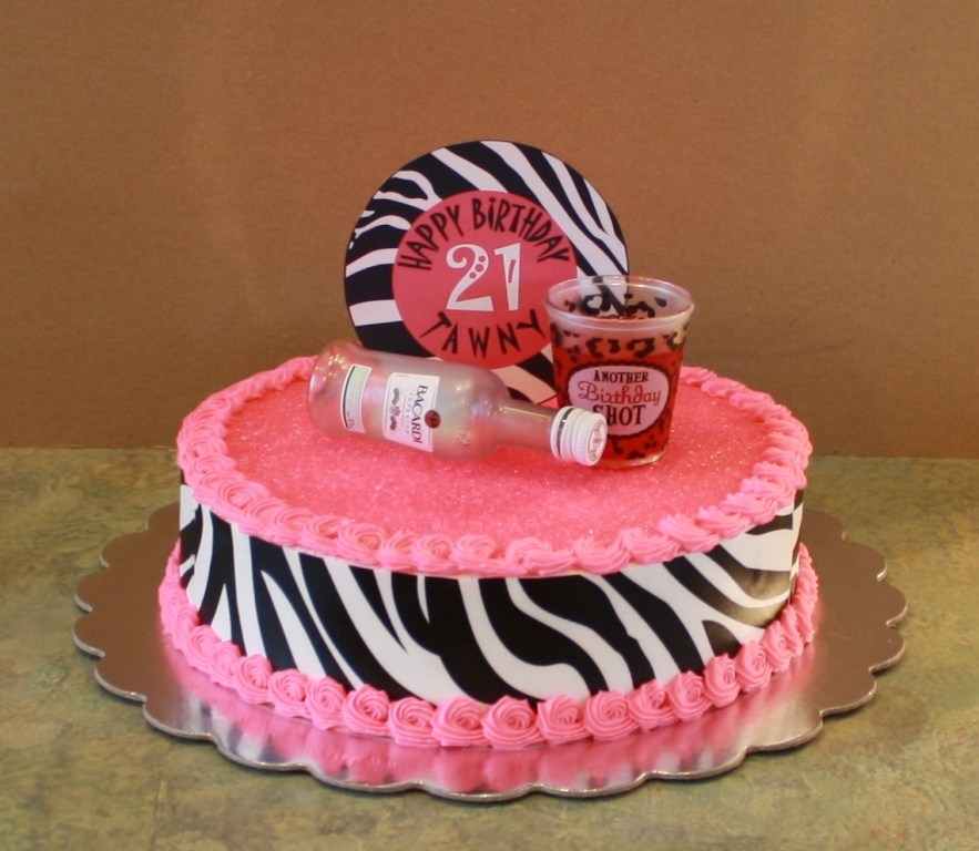 Party Cakes: Zebra Print Cake For A 21st Birthday