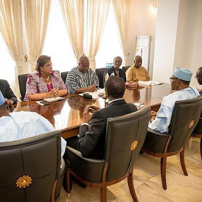 President Buhari and the Ghanaian President John Mahama in meeting in Ghana.