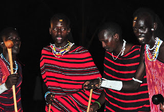 Masai men performing a traditional dance