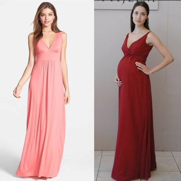 long v neck bridesmaids dresses for pregnant women