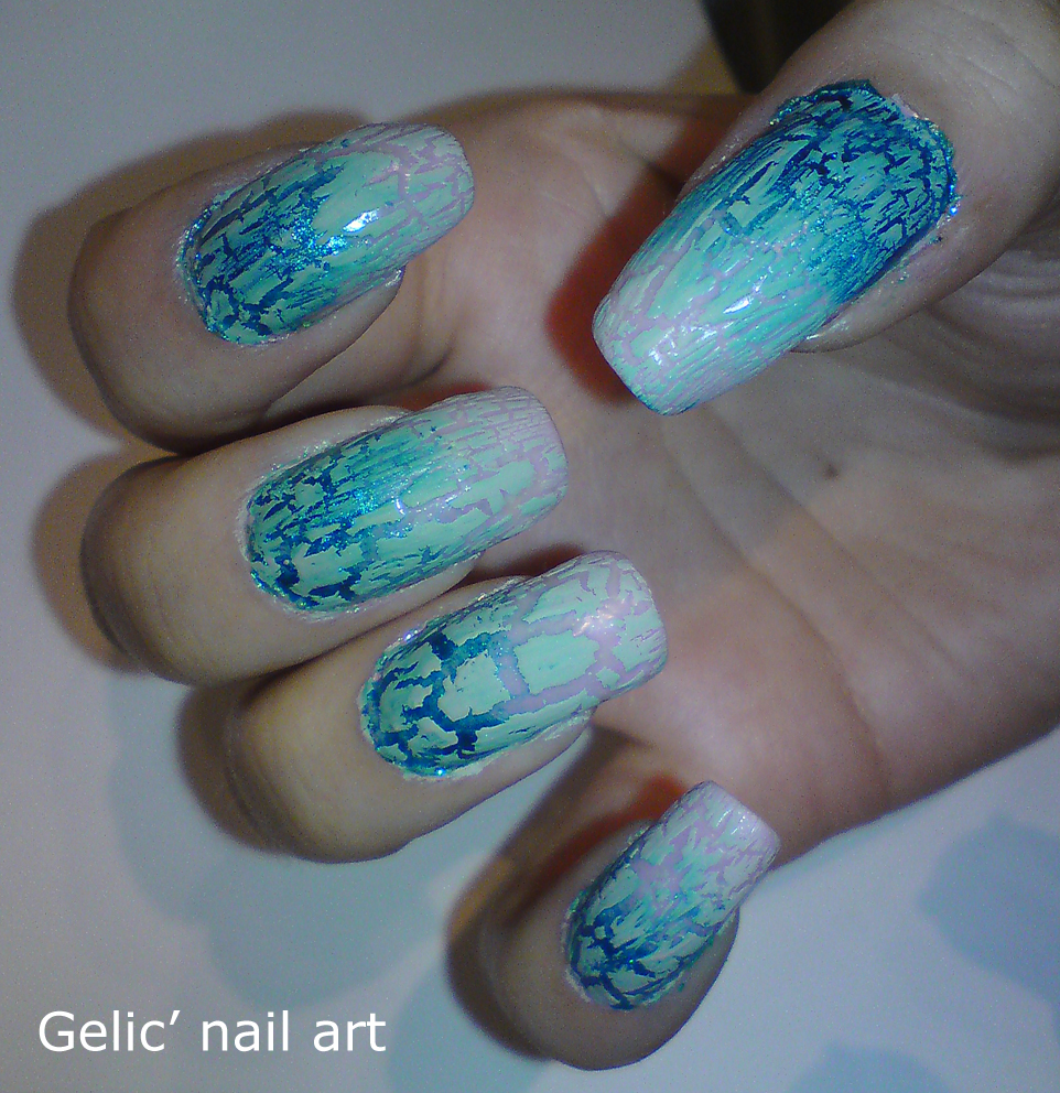 Gelic Nail Art Nude Crackle And Metallic Blue To Nude Gradient