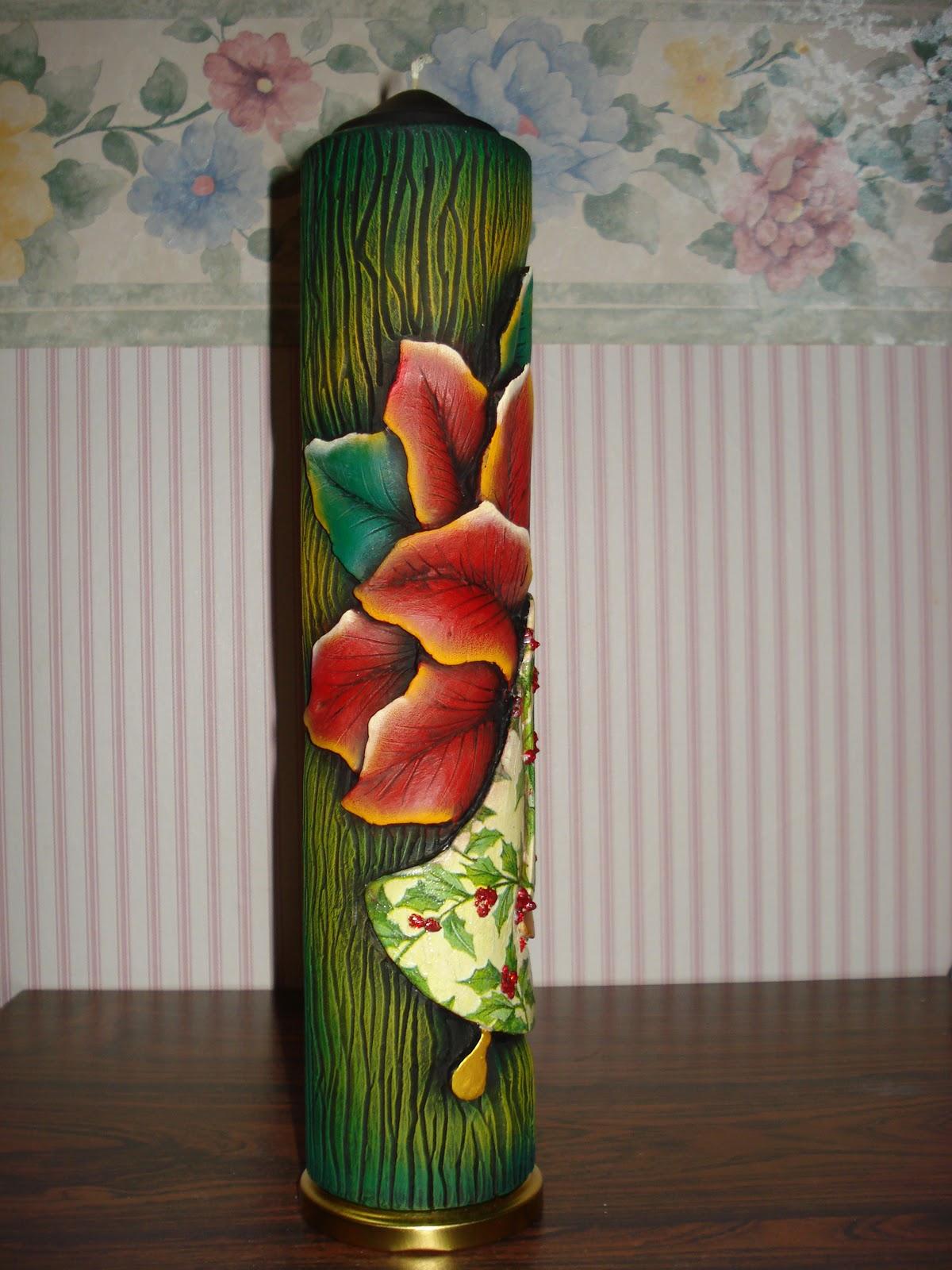 Hand craft vela tallada con motivo navide o - Velas talladas ...