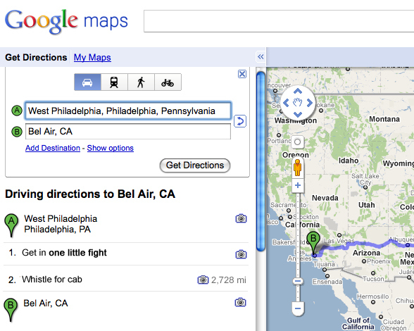 Google maps, Fresh Prince of Bel Air lyrics