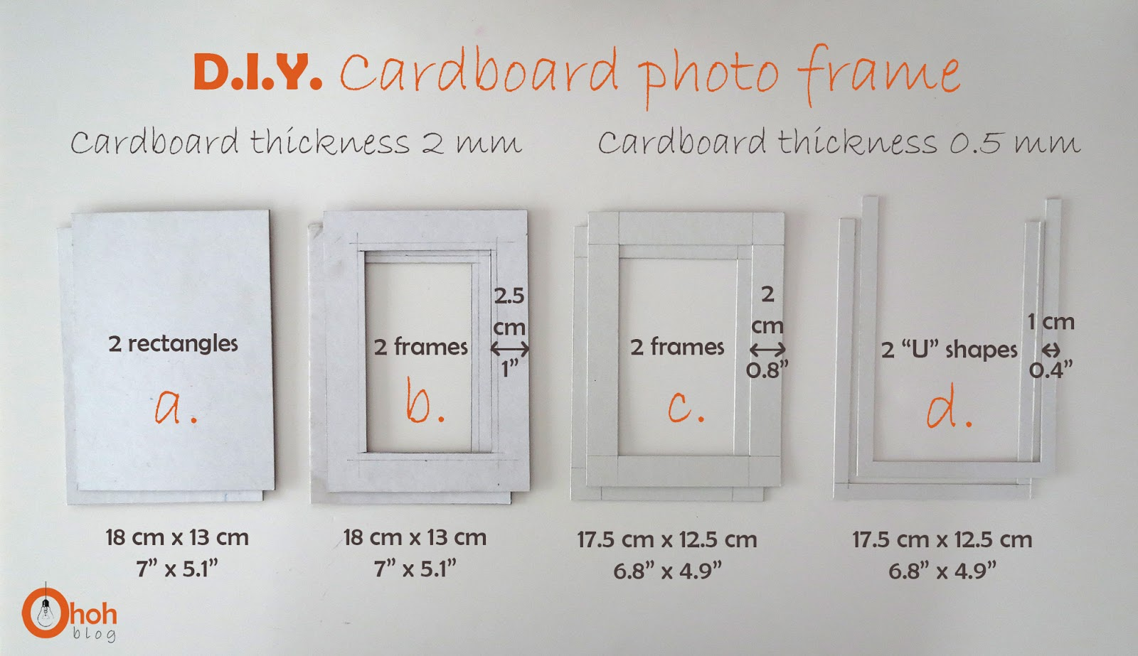 DIY Cardboard photo frame - Ohoh Blog