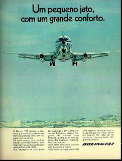 propaganda Boeing 737 - 1974.  os anos 70; propaganda na década de 70; Brazil in the 70s, história anos 70; Oswaldo Hernandez;