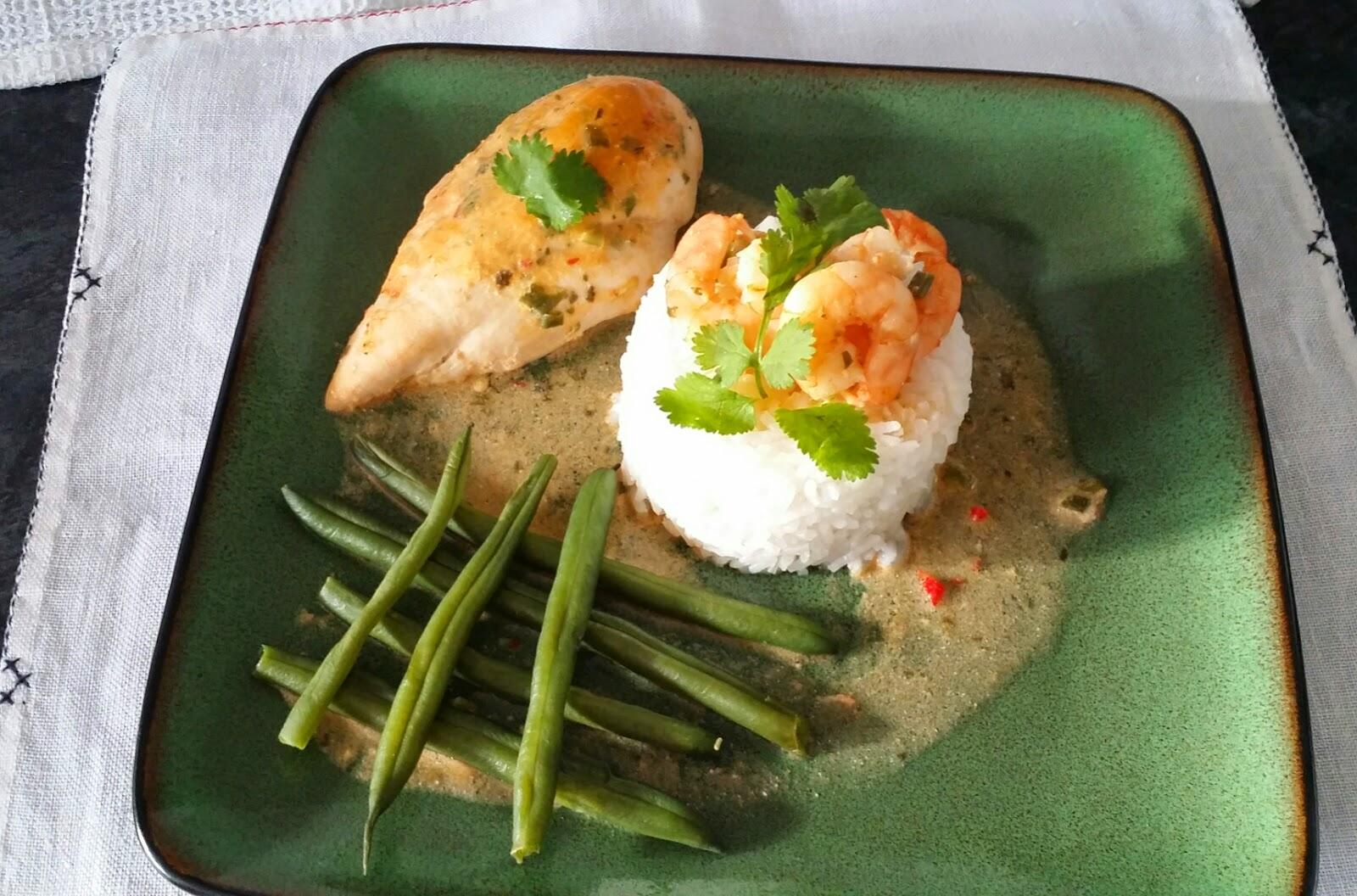 Thai spice coconut chicken and king prawn