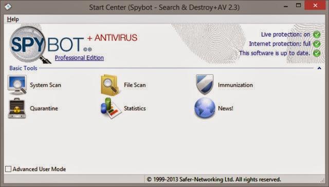 Spybot - Search & Destroy للتخلص من ملفات التجسس و التروجنات