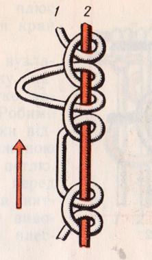 Пико из узлов фриволите из двух и из четырех нитей.