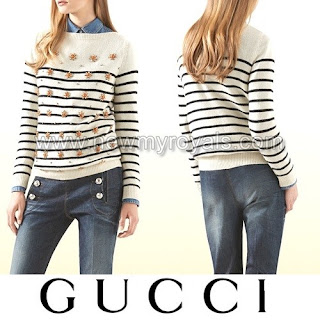 Charlotte Casiraghi - GUCCI Striped Cashmere