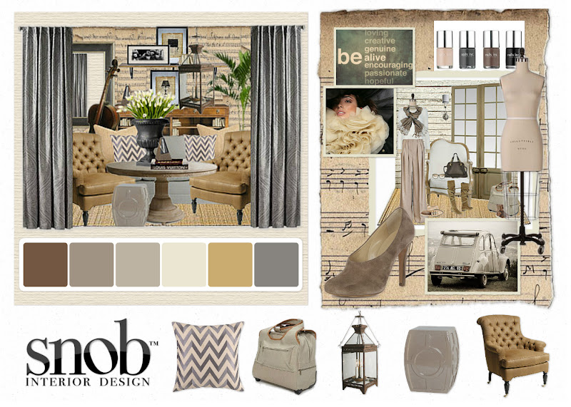 Some inspiration with a moodboard, paint samples and accessories to  title=