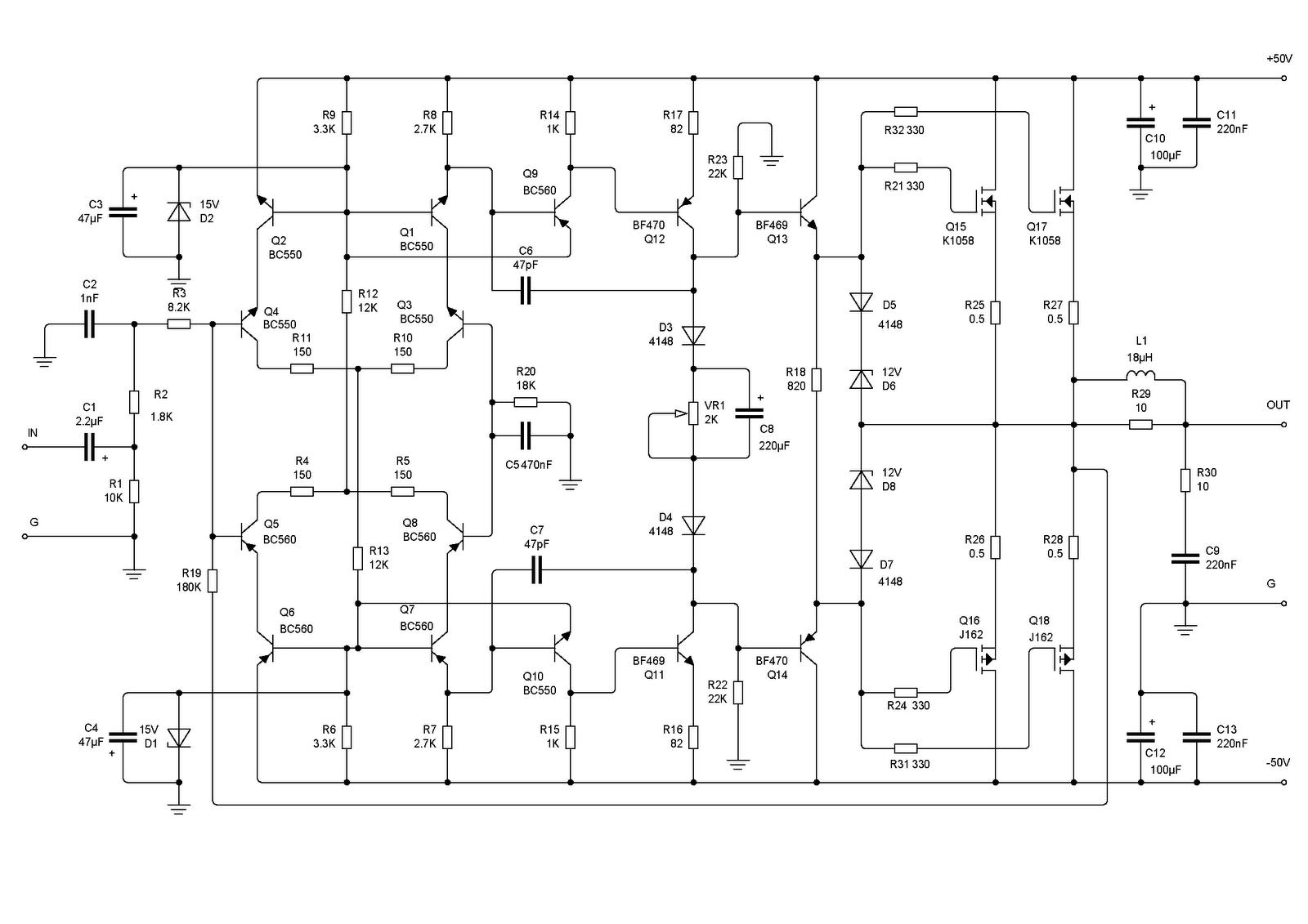 Mosfet Amplifier Schematic Trusted Wiring Diagram 240w 200w K1058 J162 Class A Audio Circuit The Diy Schematics