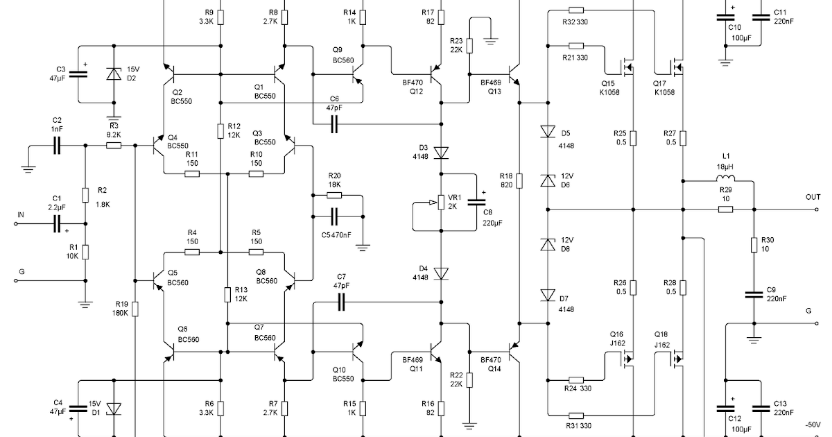 200w k1058 j162 mosfet class a audio amplifier circuit the circuit200w K1058 J162 Mosfet Class A Audio Amplifier Circuit The Circuit #2