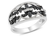 black and white fleur de lis ring