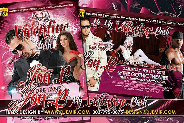 Be My Valentine Bash Flyer Design Featuring Jon B