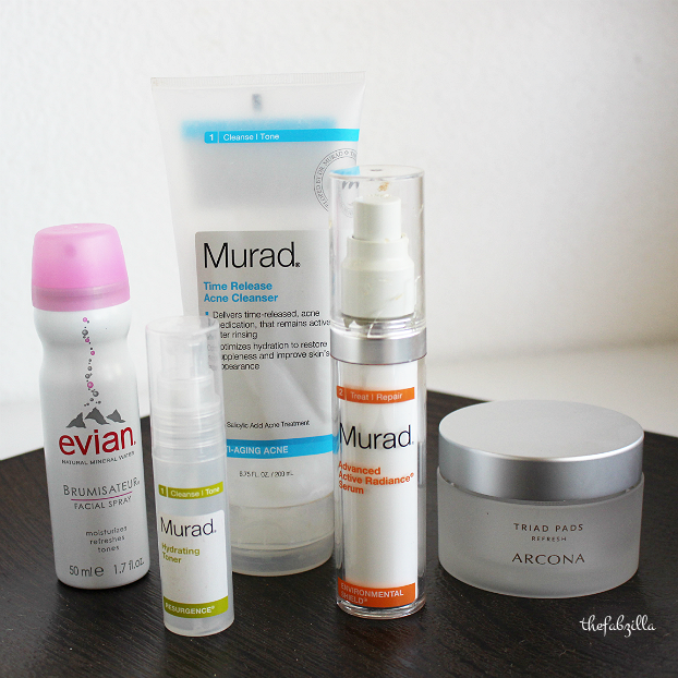 murad time release acne cleanser, murad hydrating toner,murad advanced radiance serum, arcona triad pads review