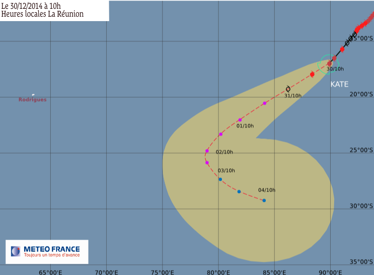 Cyclone tropical intense Kate suivi par le CMRS