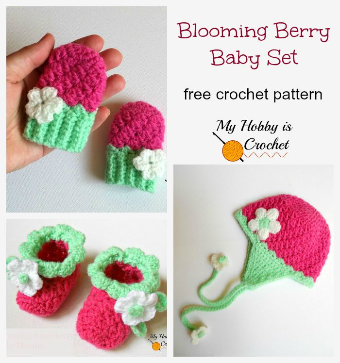 My Hobby Is Crochet: Blooming Berry Baby Mittens - Free ...
