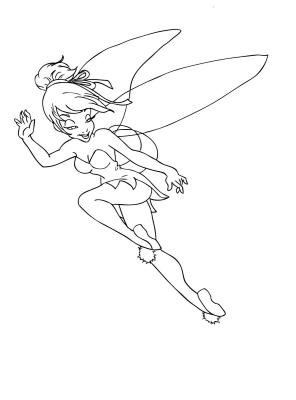 Tinkerbell coloring pages for kids for Black and white tinkerbell