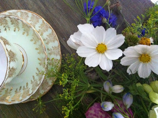 Flowers and vintage china