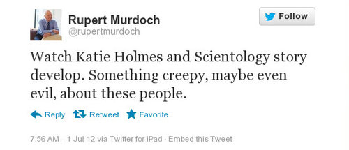 Watch Katie Holmes and Scientology story develop. Something creepy, maybe even evil, about these people.