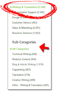 oDesk's Writing Jobs (Categories)