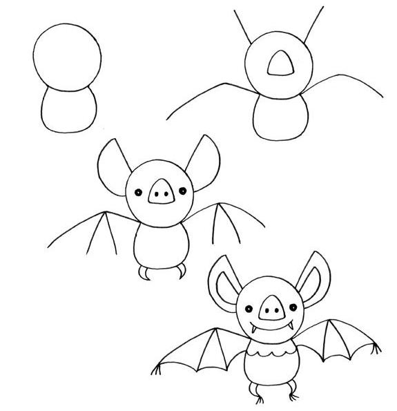 ideias giras como desenhar um morcego passo a passo