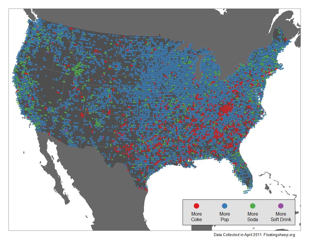 Floatingsheep The Expanded Pop Vs Soda Debate - Map of us coke pop soda