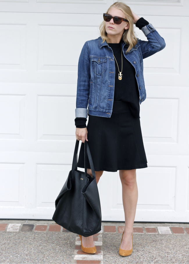 Cuyana tote, OC Blogger, style blog, outfit, black skirt, LOFT skirt